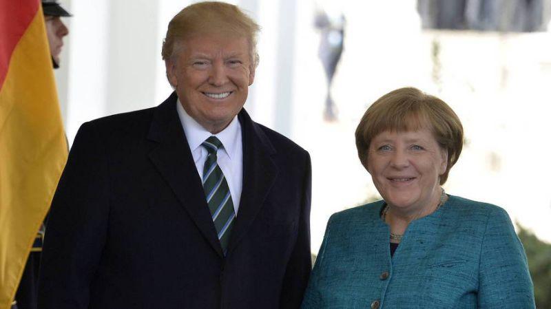 Donald Trump und Angela Merkel vor dem Weißen Haus in Washington